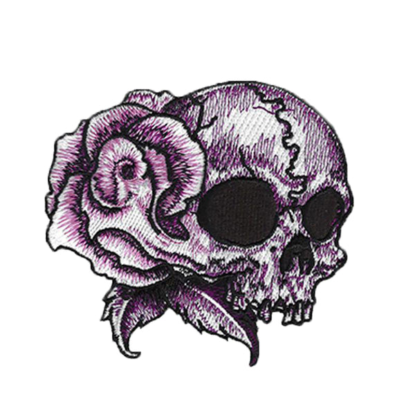 Rose Skull Tattoo Embroidered Patch - Right Facing Skull
