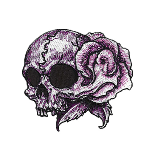 Rose Skull Tattoo Embroidered Patch - Left Facing Skull