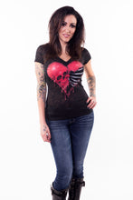 Rib Cage Skull Heart Burn Out Scoop Neck Tee