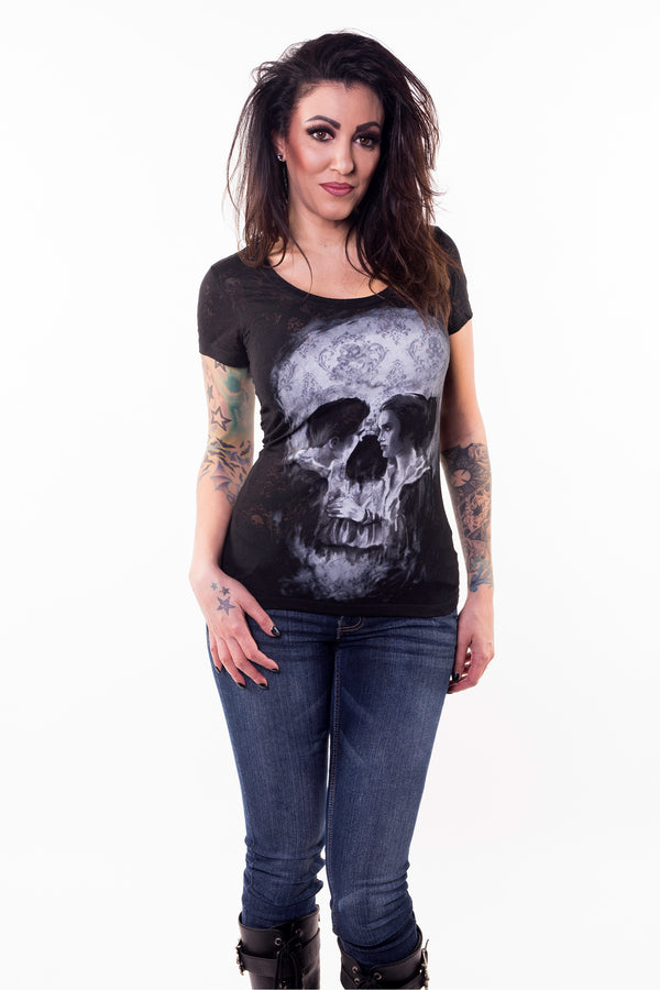 Skull Couple Burn Out Scoop Neck Tee