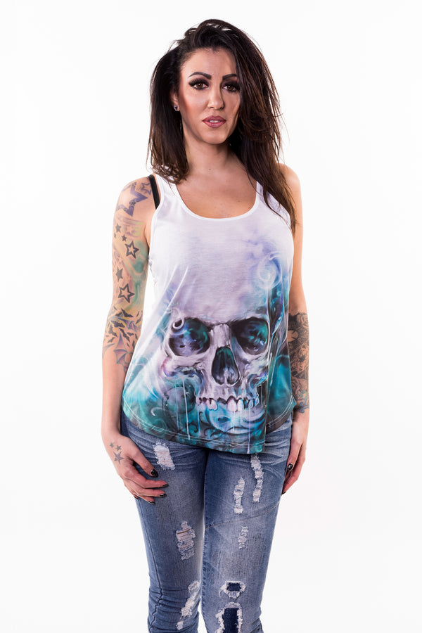 Ocean Skull Sublimation Razor Back Tank Top