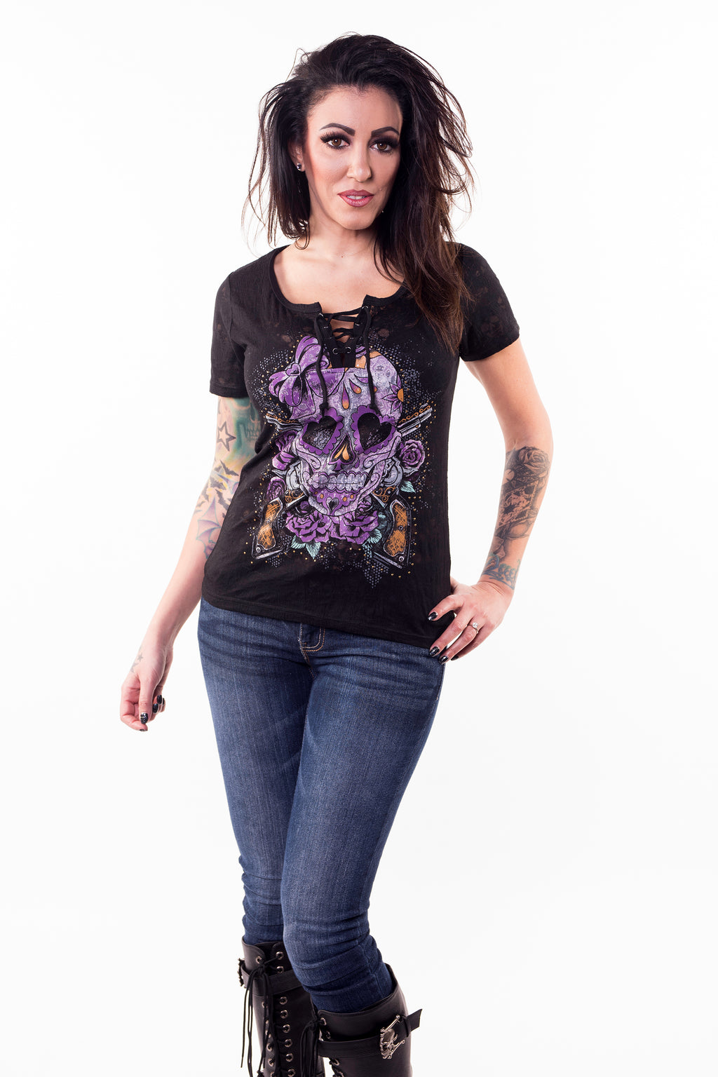 Vintage Day of the Dead Skull n Guns Burn Out Lace Up Tee