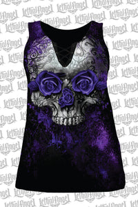 Lethal Angel Purple Rose Skull Tank Top