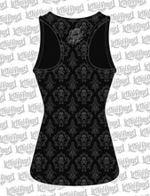Black Lace Rip Skull Razor Back Tank Top