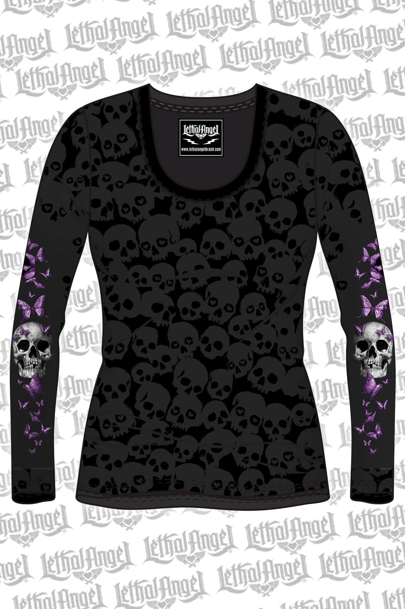 c455d7cc Butterfly Skull Burnout Long Sleeve – LETHAL ANGEL