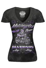 Motorcycles Over Diamonds V Neck Tee