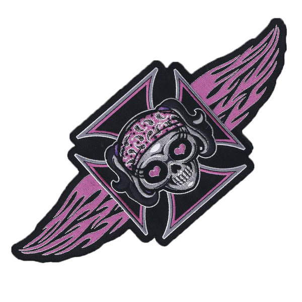 Pink Iron Cross Girl Skull with Bandanna and Flames Embroidered Patch