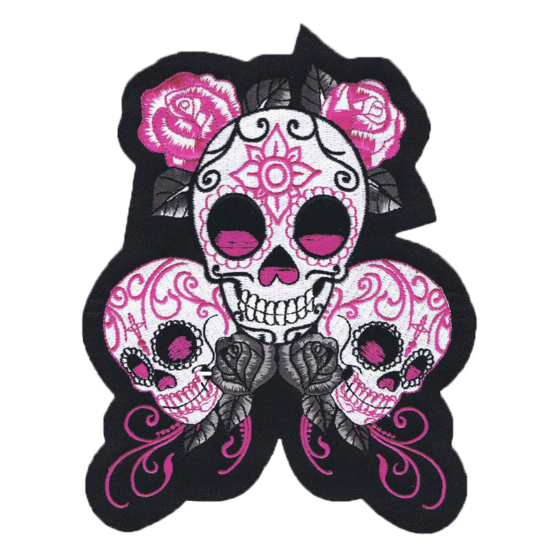 Sugar Skulls With Roses Embroidered Patch