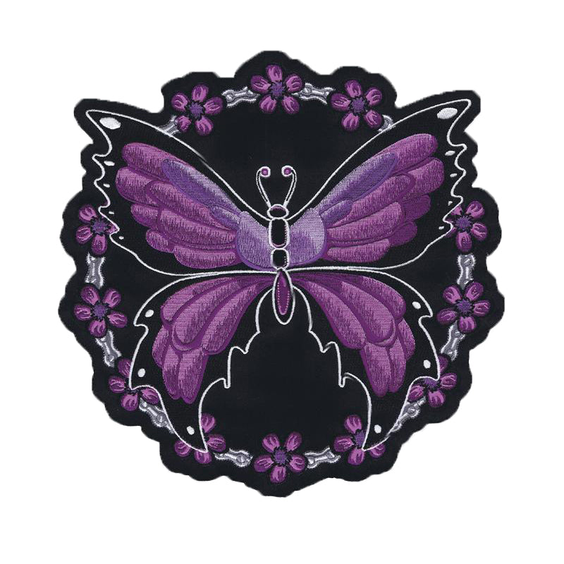 Purple Butterfly Chain Embroidered Patch