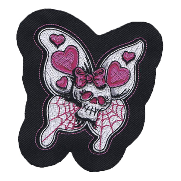 Skull Butterfly Embroidered Patch