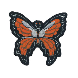 Orange Butterfly Embroidered Patch