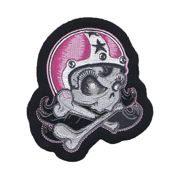 Helmet Girl Skull Embroidered Patch