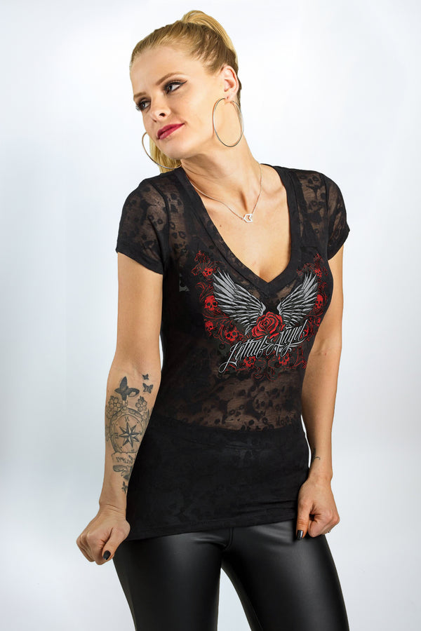 Rose Wing Scroll Burn Out V-Neck Tee