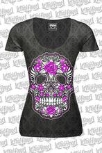 Skull of Flowers Scoop Neck Burn Out Tee