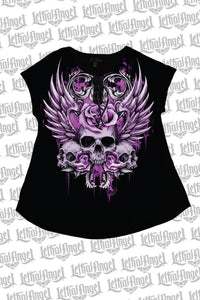 Rose Skull Lace Up Tee Shirt
