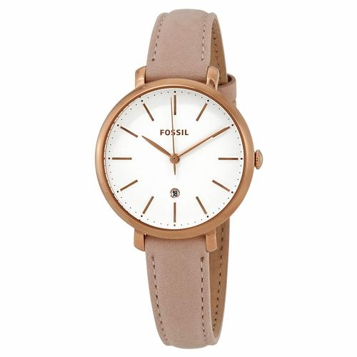 Fossil Womens ES4369 Gold Case with Pink Leather Band Watch - Watchbatteries