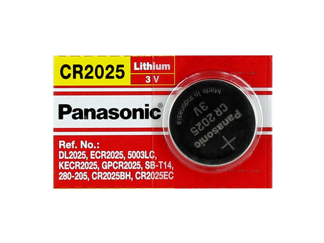 Panasonic CR2025 165mAh 3V Lithium (LiMnO2) Coin Cell Battery - Watchbatteries