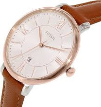 Fossil Womens ES3842 Gold Case with Brown Leather Strap Watch - Watchbatteries