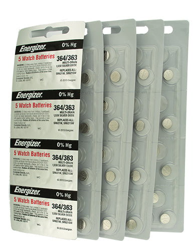 Energizer 364/363 Silver Oxide Batteries 1.55V SR621SW BOX of 100 Volume Strip - Watchbatteries