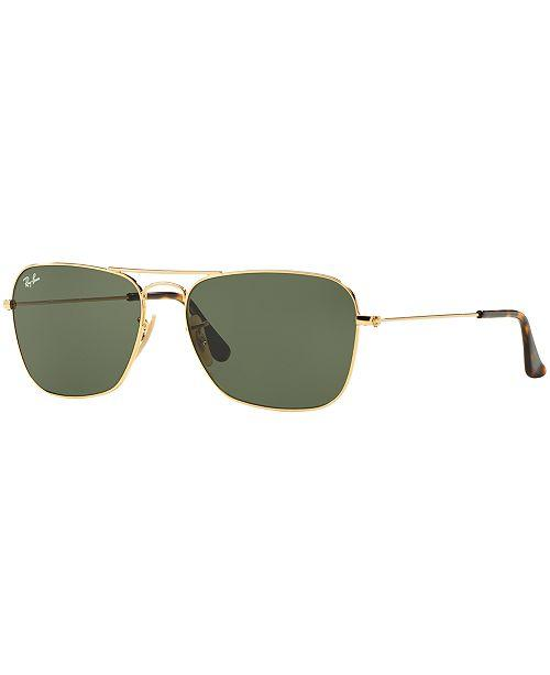 Ray Ban Caravan Gold Frame/dark Green Lens Sunglasses Rb3136 181 55mm - Watchbatteries