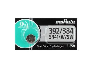 Murata (Replaces Sony) 392 LR41 AG3. SR41, SR736, SB-B1, V36A1.55V Silver Oxide Button Cell Watch Battery