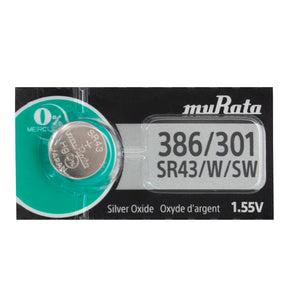 Murata (Replaces Sony) 386/301 SR43W 120mAh 1.55V Silver Oxide Watch Battery