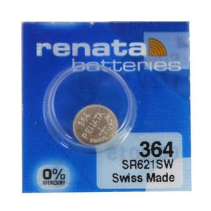 Renata 364 20mAh 1.55V Silver Oxide Coin Cell Battery - Watchbatteries