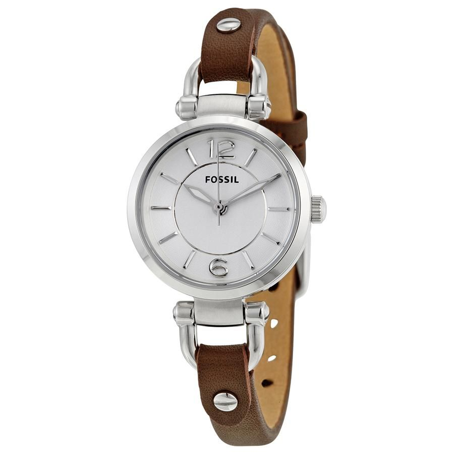 Fossil Womens ES3861 Silver Case with Brown Leather Band Watch - Watchbatteries