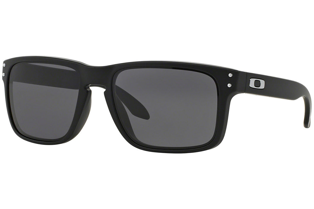 Oakley Sunglasses Unisex OO9102-01 Holbrook Matte Black / Warm Grey Lenses - Watchbatteries
