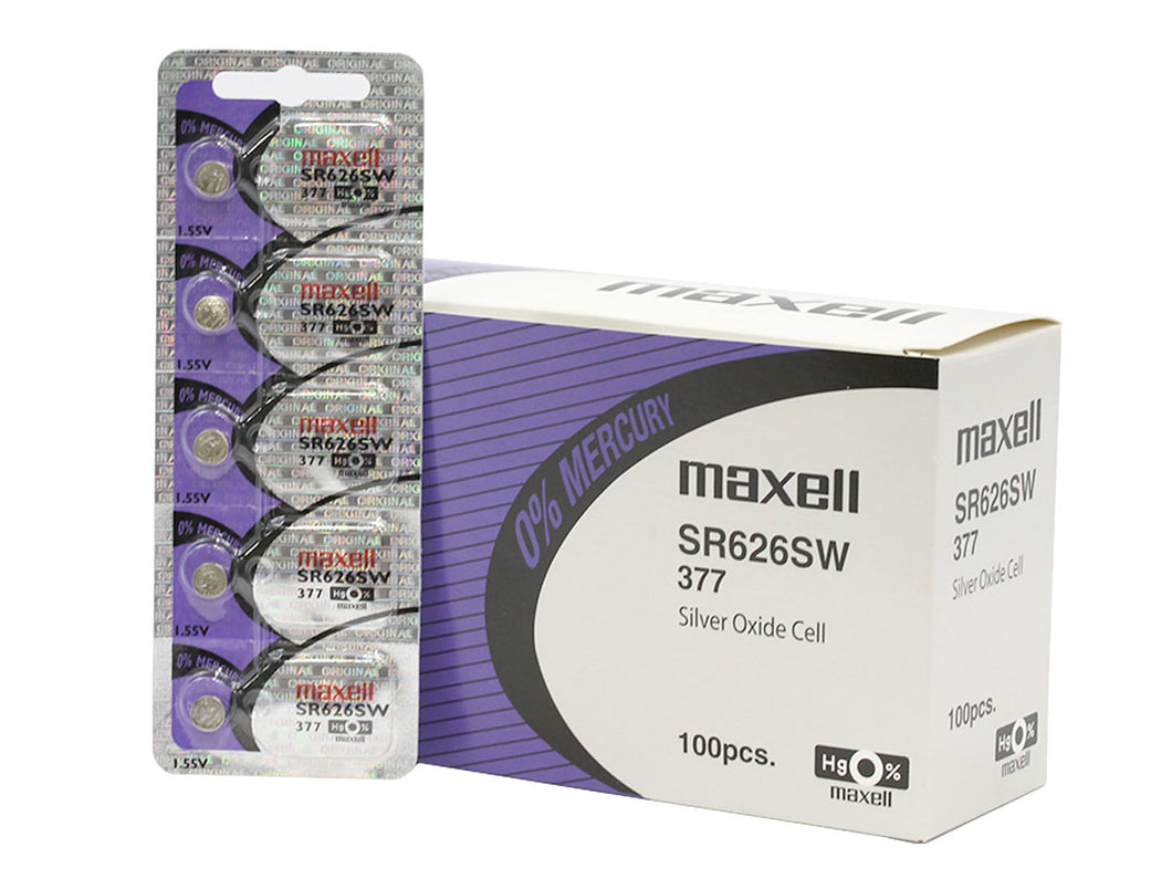 Maxell 377 SR626SW 27mAh 1.55V Silver Oxide Button Cell Battery