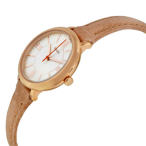 Fossil Womens ES3802 Gold Case with Tan Leather Strap Watch - Watchbatteries