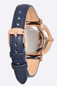 Fossil Womens ES3843 Gold Case with Blue Band Watch - Watchbatteries
