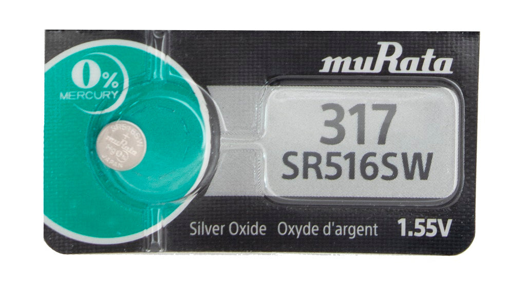 Murata (Replaces Sony) 317 SR516SW 11.5mAh 1.55V Silver Oxide Watch Battery