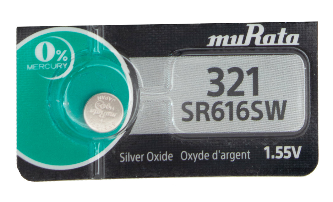 MuRata 321 SR616SW 16mAh 1.55V Silver Oxide Watch Battery