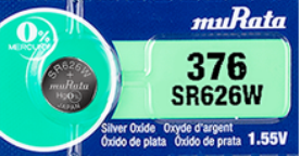 MuRata  376 SR626W 28mAh 1.55V Silver Oxide Watch Battery