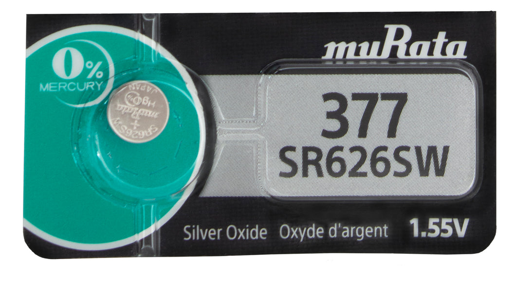 Murata (Replaces Sony) 377 SR626SW 28mAh 1.55V Silver Oxide Watch Battery