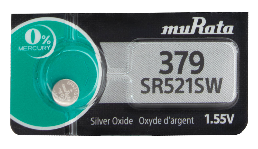 MuRata  379 SR521SW 16mAh 1.55V Silver Oxide Button Cell Battery