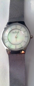 Skagen 233XSSS Mother of Pearl Dial Stainless Steel Women's Watch New Damaged