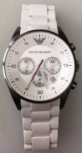 Emporio Armani Sport Silicone Chrono Silver Dial Mens Watch AR5859 Store Display
