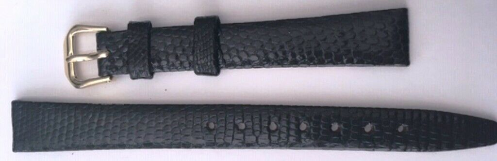 12MM  Kreisler Genuine Ladies Lizard Black Band--NEW...no Springbars