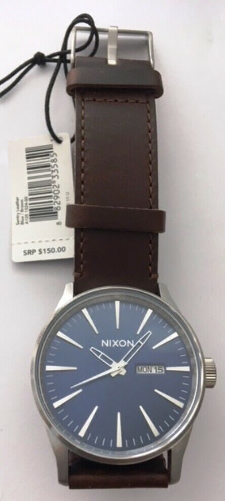 Nixon Sentry Leather Blue/Brown Watch A105-1524-00 New Without Box