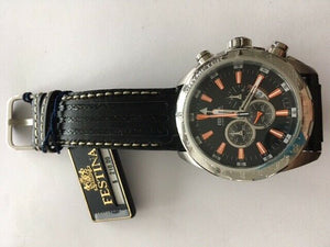 Festina F16489/4 Chronograph Dual Time Black Leather Strap Watch-NEW