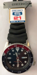 New Seiko SKX009J1 Japanese Automatic Black Rubber Diver's Watch NO BOX