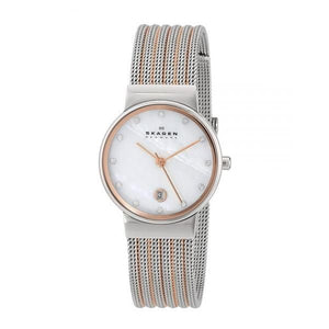 Skagen Womens 355SSRS Two-Tone Stainless-Steel Analog Quartz Watch with Mother-Of-Pearl Dial - Watchbatteries