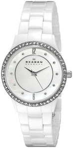 Skagen Womens 347SSXWC White Ceramic Glitz Watch - Watchbatteries