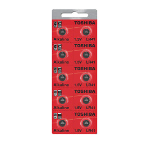 Toshiba LR41 192 Alkaline Button 1.5V Battery Strip of 10 - Watchbatteries