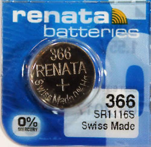 Renata 366 47mAh 1.55V Silver Oxide Coin Cell Battery - Watchbatteries