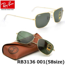 Ray Ban Unisex Caravan Gold Frame, Green Lens Sunglasses 3136-001 58mm - Watchbatteries