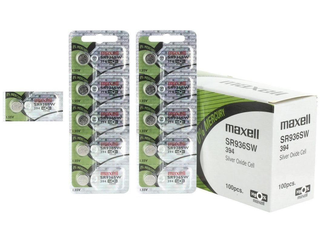 Maxell 394 SR936SW 71mAh 1.55V Silver Oxide Button Cell Battery - Watchbatteries