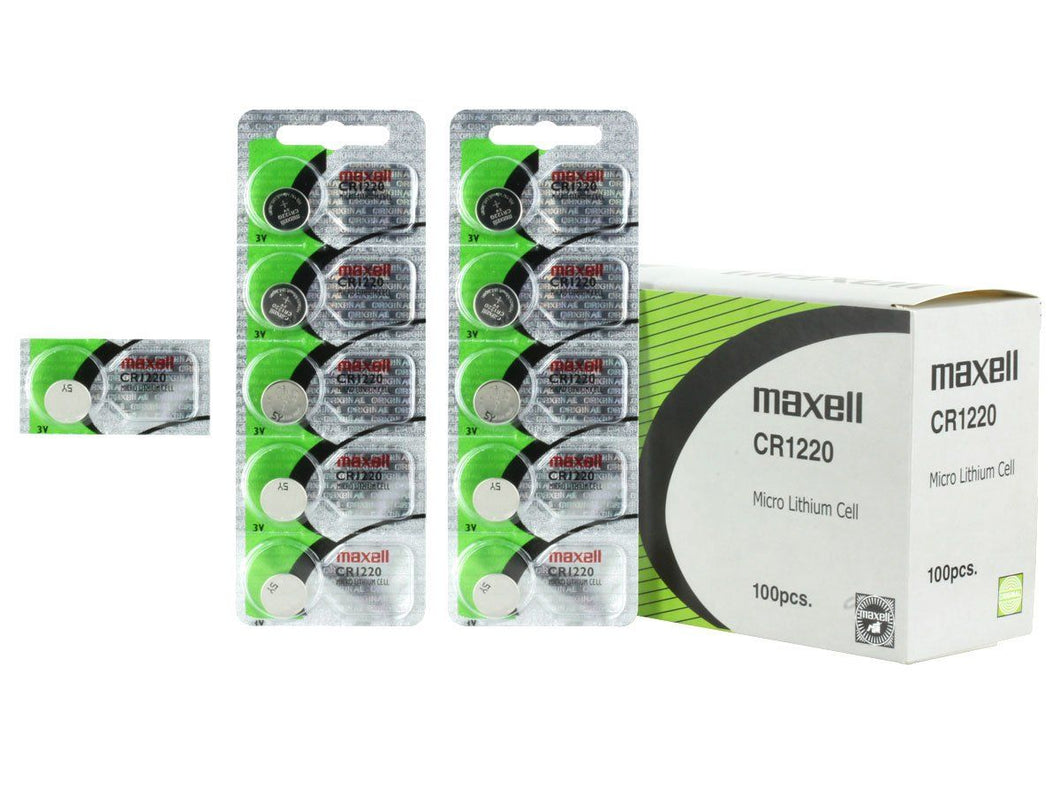 Maxell CR1220 30mAh 3V Lithium (LiMnO2) Coin Cell Battery - Watchbatteries